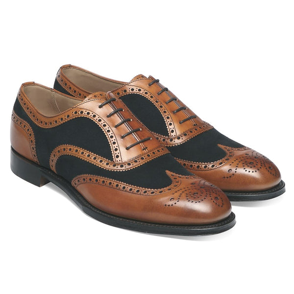 Edwin Two Tone Oxford Brogue in Chestnut Calf/Navy Suede - Crofton & Hall