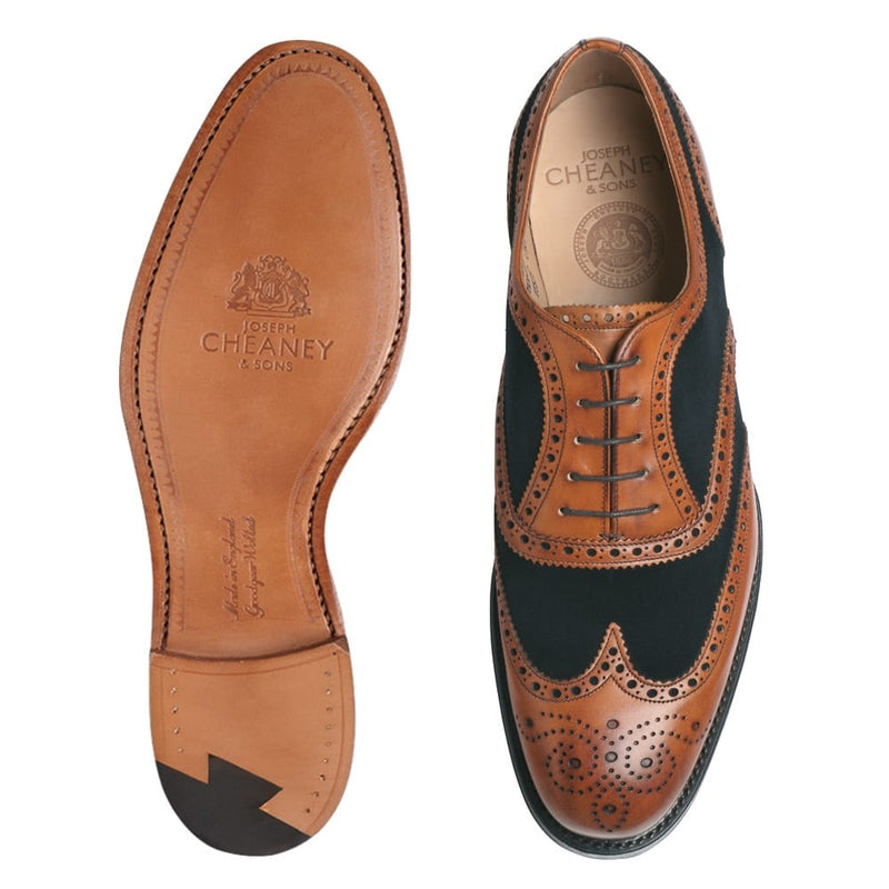 Edwin Two Tone Oxford Brogue in Chestnut Calf/Navy Suede - croftonandhall