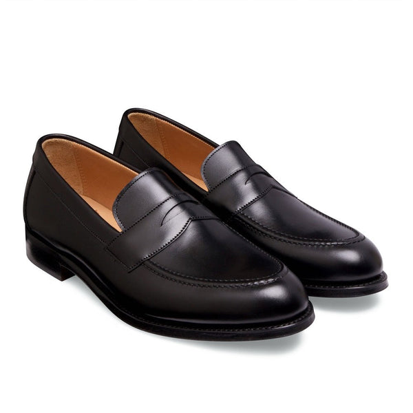Hadley Penny Loafer in Black Calf Leather - Crofton & Hall
