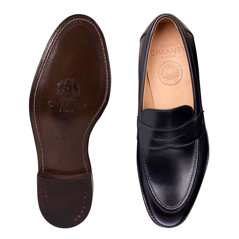 Hadley Penny Loafer in Black Calf Leather - croftonandhall