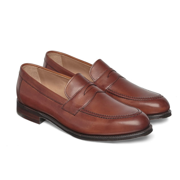 Hadley Penny Loafer in Dark Leaf Calf Leather - Crofton & Hall
