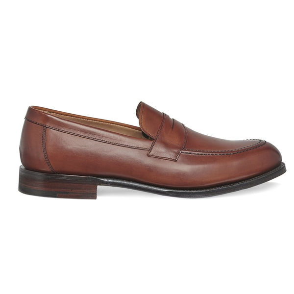 Hadley Penny Loafer in Dark Leaf Calf Leather - croftonandhall