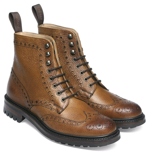 Tweed C Wingcap Brogue Boot in Almond Grain Leather - croftonandhall