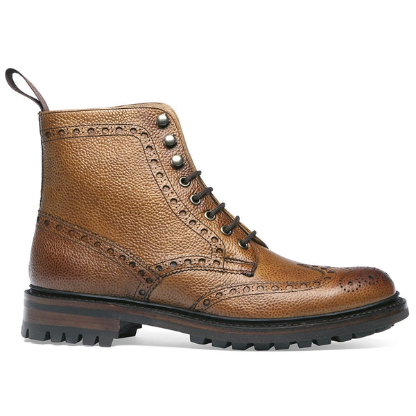 Tweed C Wingcap Brogue Boot in Almond Grain Leather - Crofton & Hall