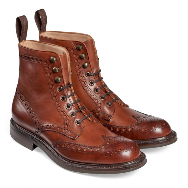 Tweed R Wingcap Brogue Boot in Dark Leaf Calf Leather - Crofton & Hall