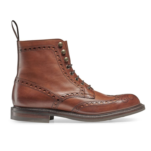 Tweed R Wingcap Brogue Boot in Dark Leaf Calf Leather - croftonandhall