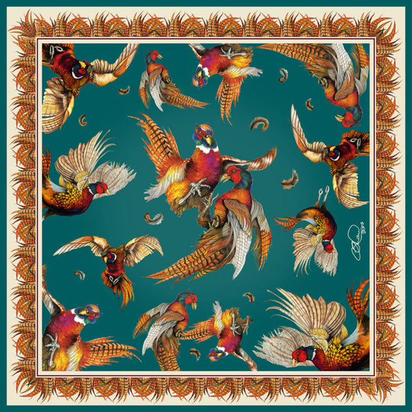 Turf War Teal Large Silk Scarf - croftonandhall