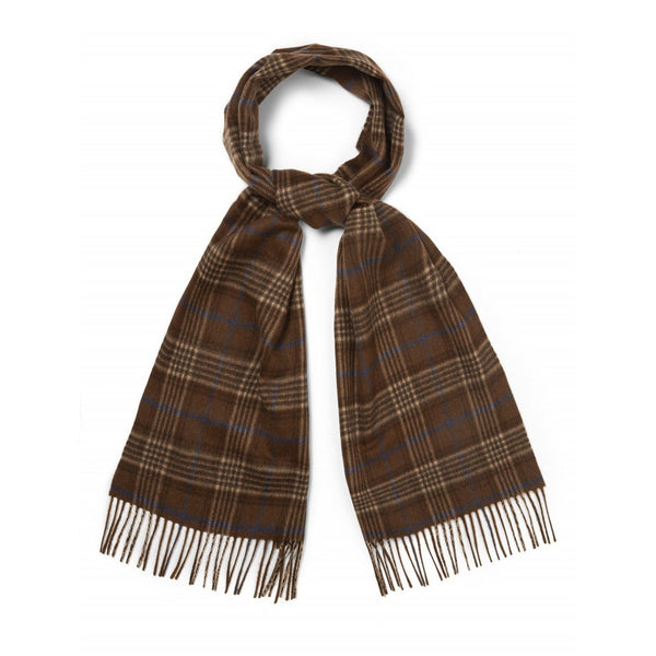 Cashmere Chocolate & Curacao Check Scarf - croftonandhall
