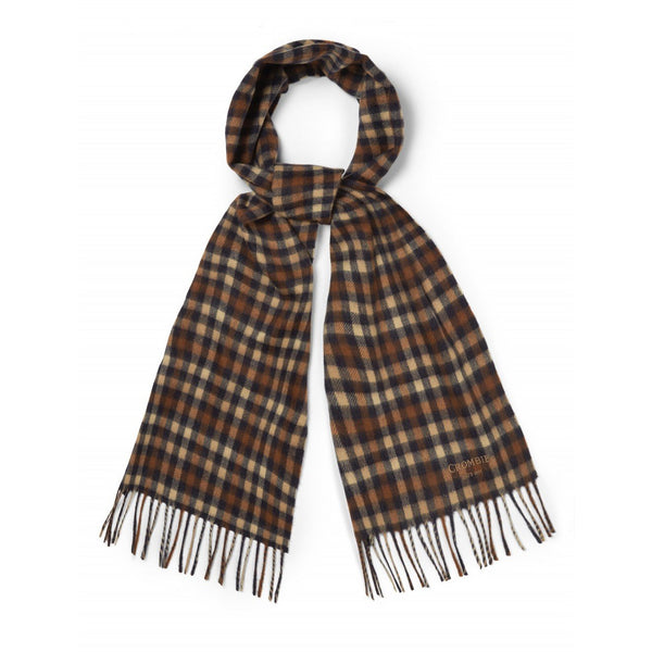 Cashmere Navy & Burnt Orange Gingham Check Scarf - croftonandhall