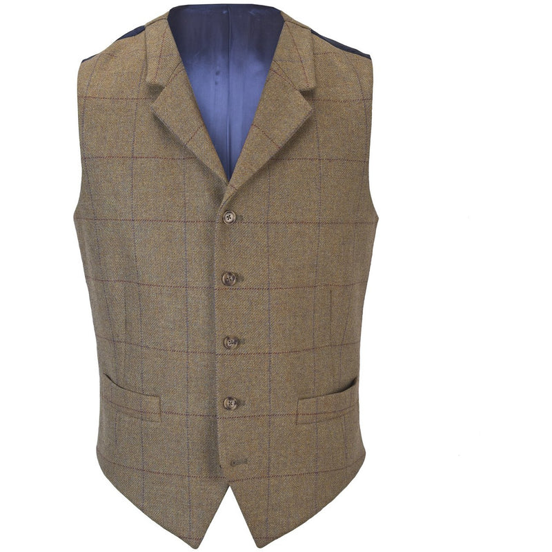 Christopher Waistcoat in Heather Brown Tweed - croftonandhall