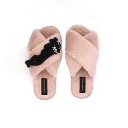 Pink Fluffy Slippers with Panther Brooch - croftonandhall