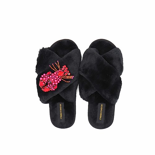 Black Fluffy Slippers with Lobster Brooch - croftonandhall