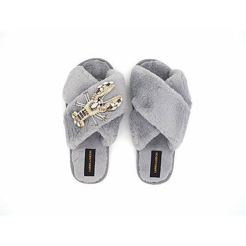 Grey Fluffy Slippers with Lobster Brooch - croftonandhall