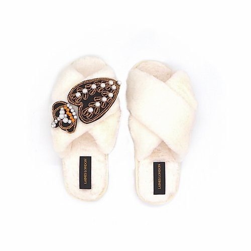 Cream Fluffy Slippers with Pearl Heart and Crown - croftonandhall