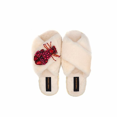 Cream Fluffy Slippers with Lobster Brooch - croftonandhall