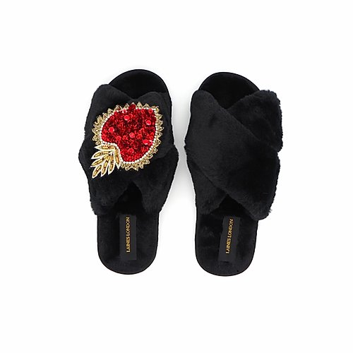 Black Fluffy Slippers with Statement Heart Brooch - croftonandhall