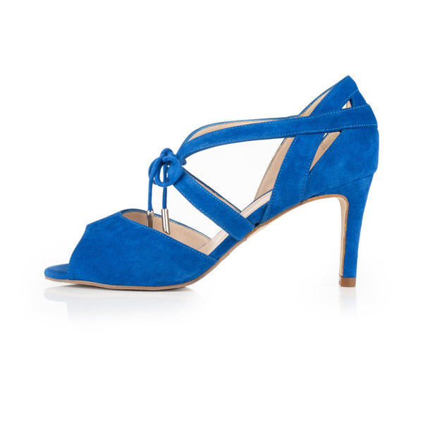 Sally - Extra Wide Fit Heeled Sandal - Electric Blue Suede - croftonandhall