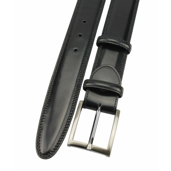 Black Hand Bunished Cordovan Welt Strap with Satin Silver Buckle - croftonandhall