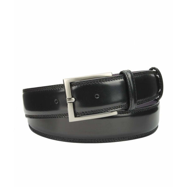 Black Hand Bunished Cordovan Welt Strap with Satin Silver Buckle - Crofton & Hall