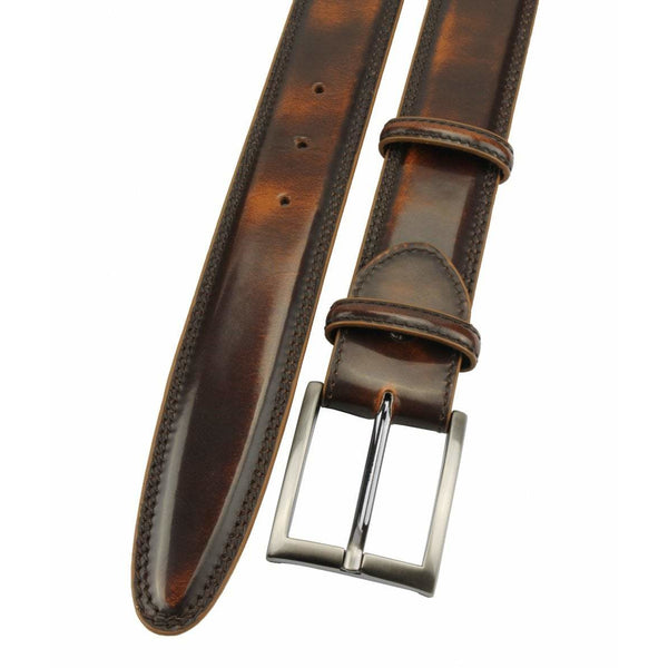 Creme Brûlée Hand Bunished Cordovan Welt Strap with Satin Silver Buckle - croftonandhall