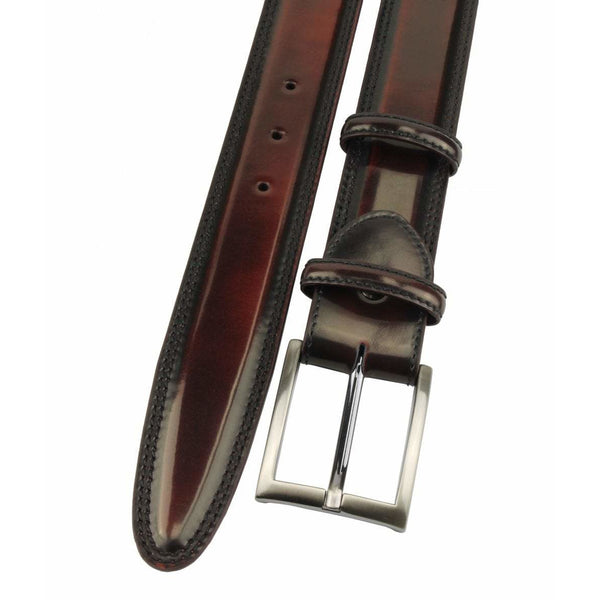 Wine Hand Bunished Cordovan Welt Strap with Satin Silver Buckle - Crofton & Hall