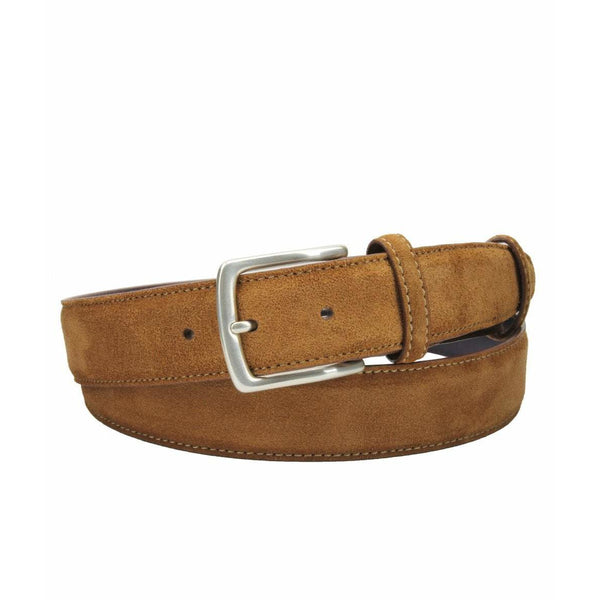 Tan Suede Belt with Silver Kinked Edge Prong Buckle - croftonandhall