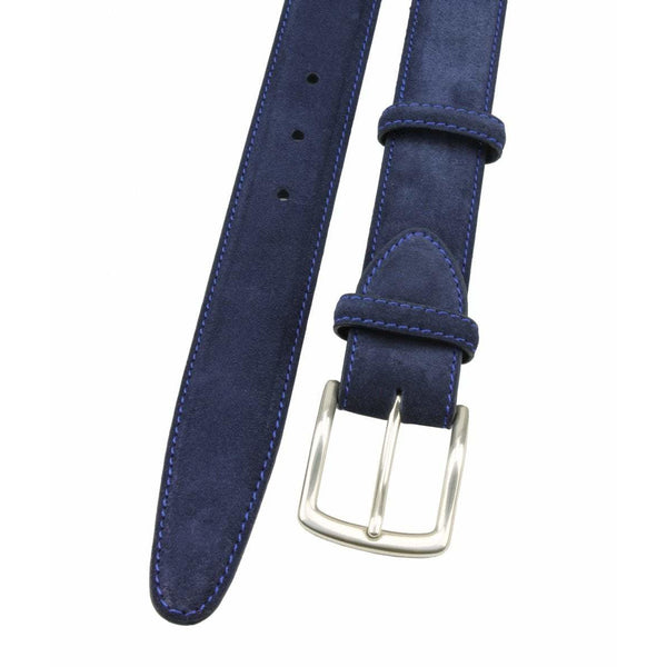 Navy Blue Suede Belt with Silver Kinked Edge Prong Buckle - croftonandhall