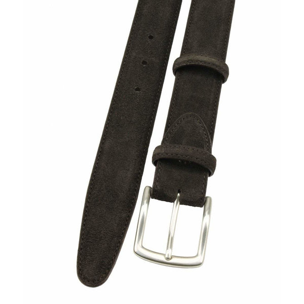 Chocolate Suede Belt with Silver Kinked Edge Prong Buckle - Crofton & Hall