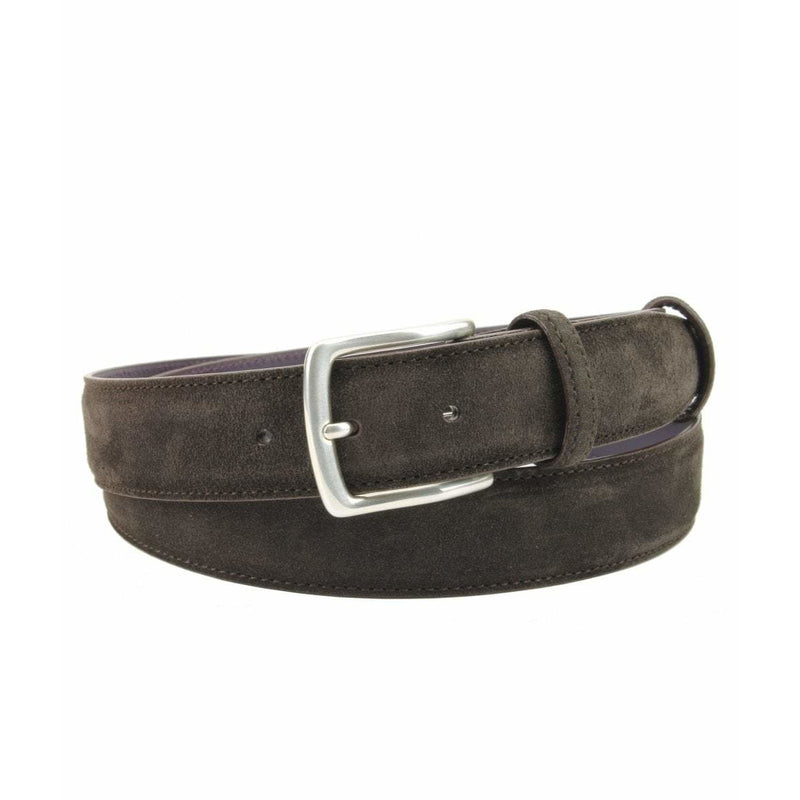 Chocolate Suede Belt with Silver Kinked Edge Prong Buckle - croftonandhall