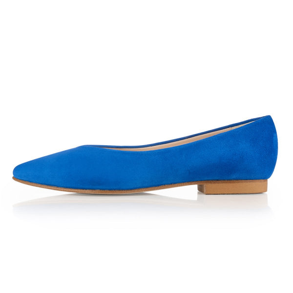 Sorcha Wide Fit Ballet Flats - Electric Blue Suede - croftonandhall
