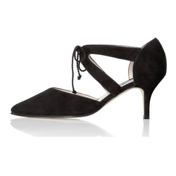 Ava Wide Fit Kitten Heel Shoes - Black Suede - croftonandhall