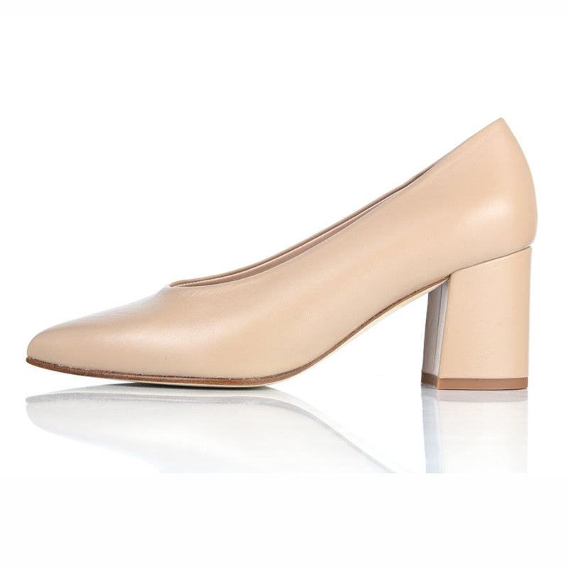 Sienna Wide Fit Block Heel Court Shoes – Nude Leather - croftonandhall