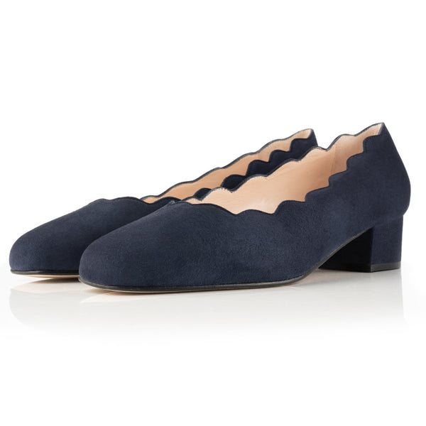 Grace Wide Fit Block Heel Pumps – Navy Suede With Scallop Edge - croftonandhall