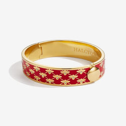 HALCYON DAYS | BEE SPARKLE TRELLIS RED & GOLD BANGLE - croftonandhall