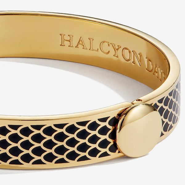 HALCYON DAYS | SALAMANDER BLACK & GOLD BANGLE - croftonandhall