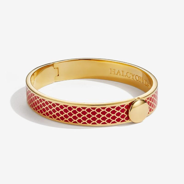 HALCYON DAYS | SALAMANDER RED & GOLD BANGLE - croftonandhall