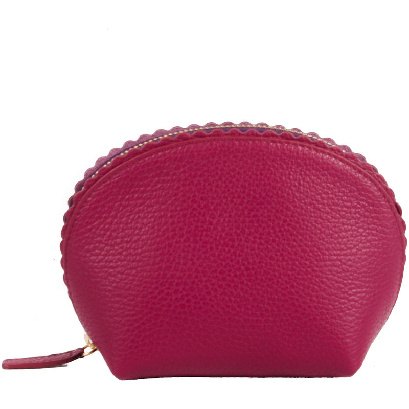 Chelsea Scalloped Edged Cosmetic Case in Heather - croftonandhall