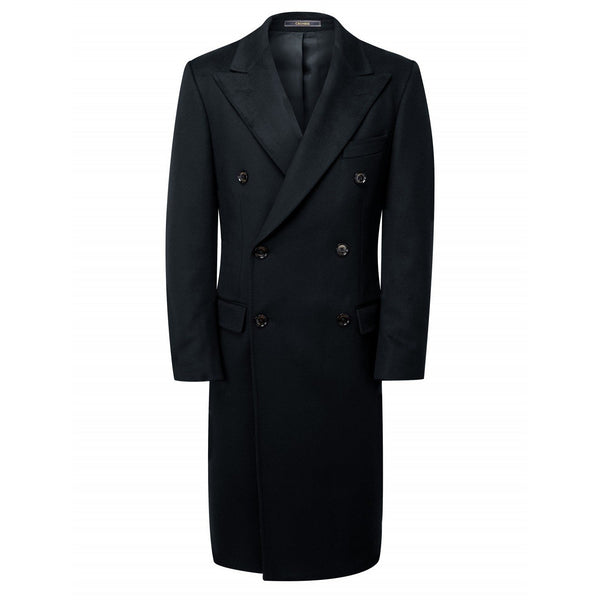 Wool & Cashmere Plain Black King Coat - croftonandhall