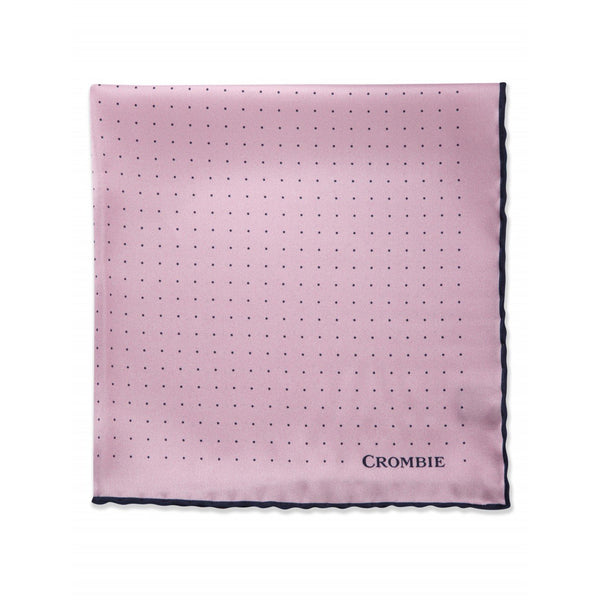 Pink & Navy Polka Dot Pocket Square - croftonandhall