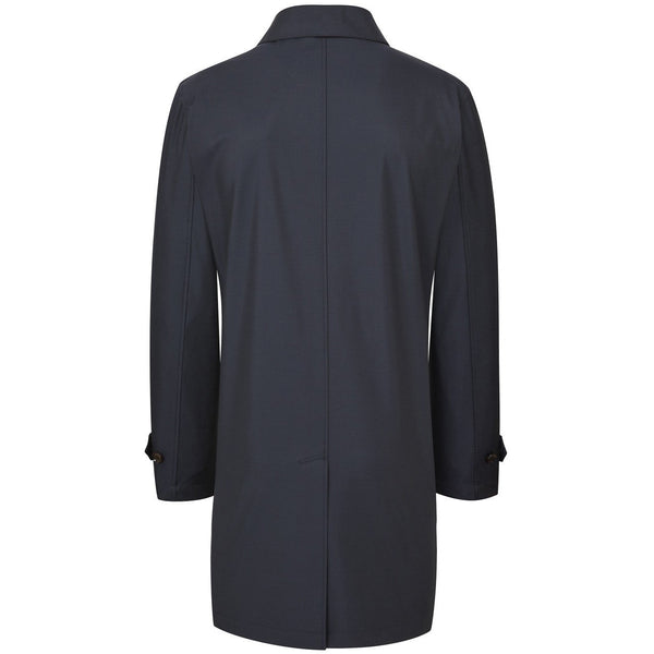 Navy Wool Rich Raincoat - croftonandhall