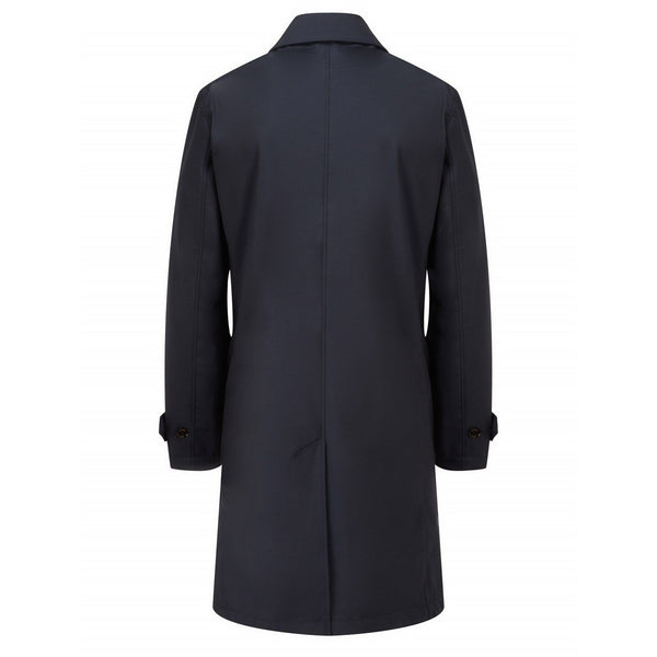 Navy Wool Rich Raincoat with Red Interior - croftonandhall