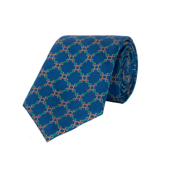 Chain Silk Tie in Blue - croftonandhall