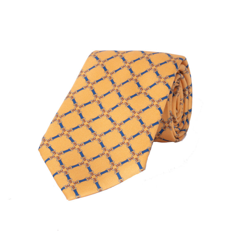 Chain Silk Tie in Yellow - croftonandhall