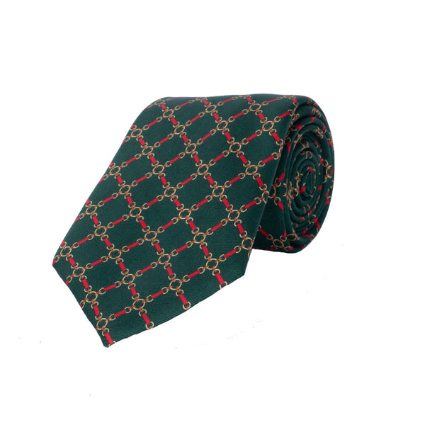 Chain Silk Tie in Green - croftonandhall