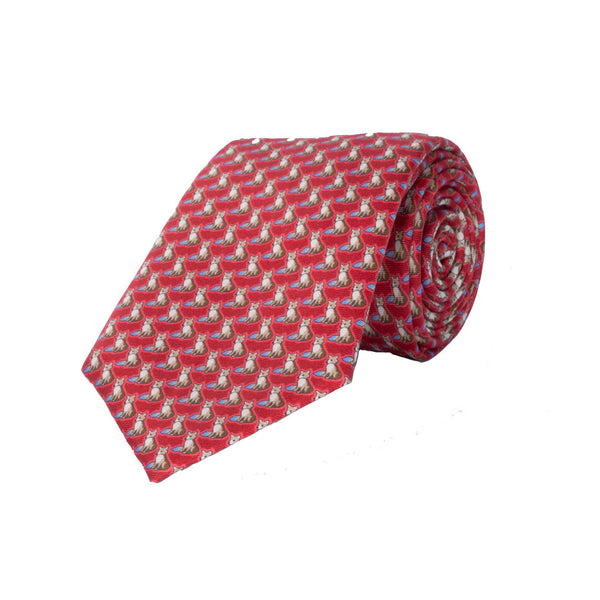 Fox Silk Tie in Red - croftonandhall