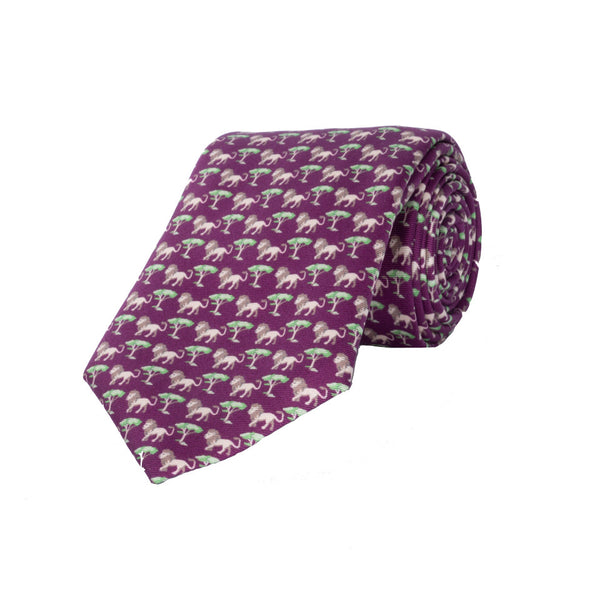 Lion Silk Tie in Wine - croftonandhall