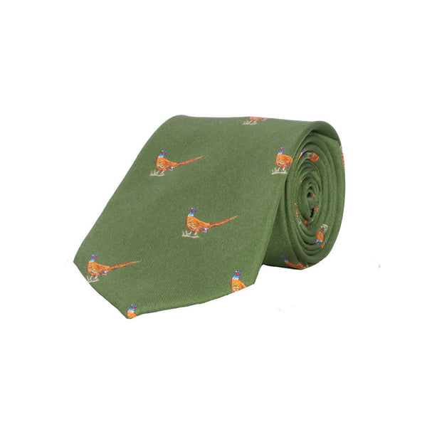 Walking Pheasant Silk Tie in Light Green - croftonandhall
