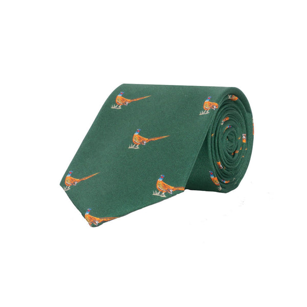 Walking Pheasant Silk Tie in Green - croftonandhall