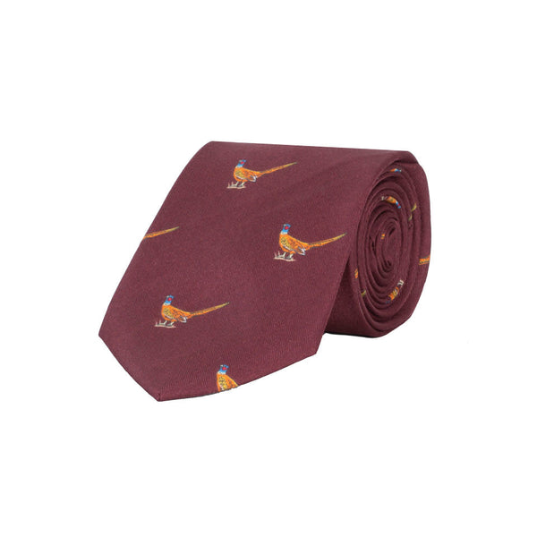 Walking Pheasant Silk Tie in Wine - croftonandhall