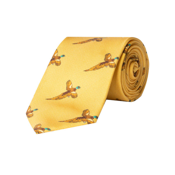 Flying Pheasant Silk Tie in Yellow - croftonandhall